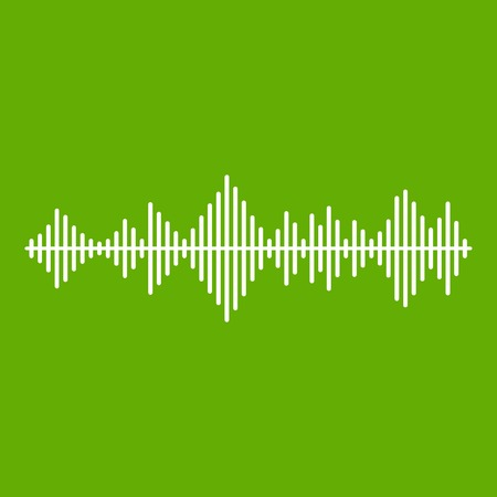 Musical pulse icon white isolated on green background. Vector illustration