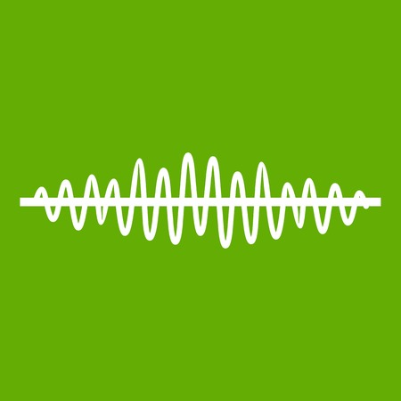Sound wave icon white isolated on green background. Vector illustration
