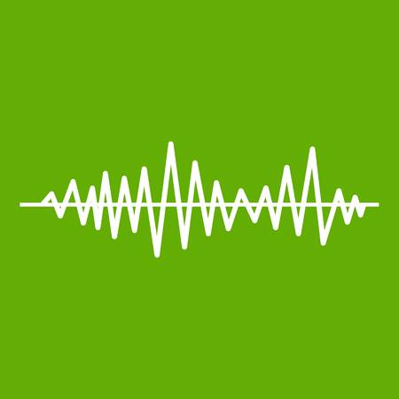 Music sound waves icon white isolated on green background. Vector illustration Illustration
