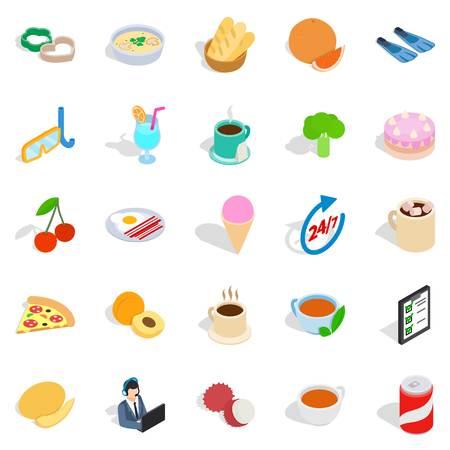 Variety of dessert icons set. Isometric set of 25 variety of dessert vector icons for web isolated on white background