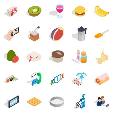 Sweet food icons set. Isometric set of 25 sweet food vector icons for web isolated on white background