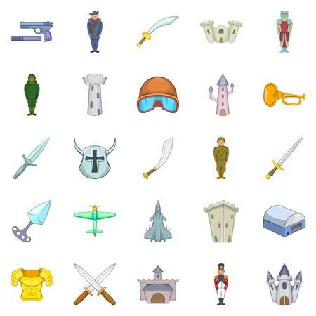 Warlike icons set. Cartoon set of 25 warlike vector icons for web isolated on white background Illusztráció