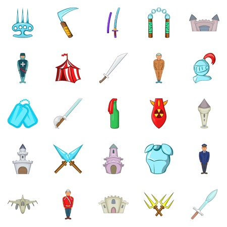 Belligerent icons set. Cartoon set of 25 belligerent vector icons for web isolated on white background