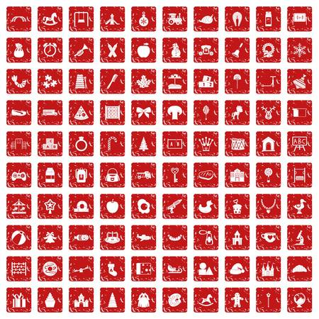 100 nursery school icons set in grunge style red color isolated on white background vector illustration