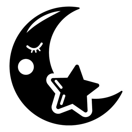 Moon icon. Simple illustration of moon vector icon for web Vettoriali
