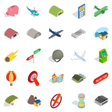Military training icons set. Isometric set of 25 military training vector icons for web isolated on white background