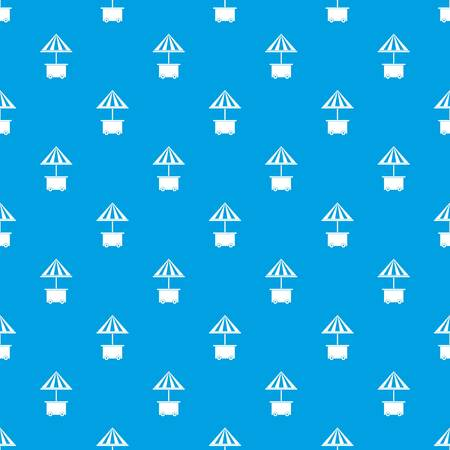 Mobile cart with umbrella for sale food pattern repeat seamless in blue color for any design. Vector geometric illustration