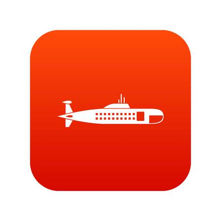 Military submarine icon digital red for any design isolated on white vector illustration Illustration