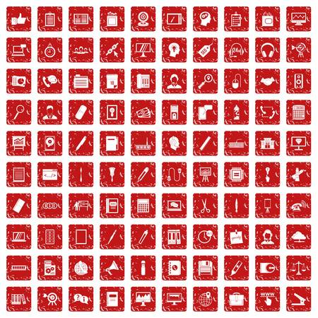 100 office work icons set in grunge style red color isolated on white background vector illustration Vectores
