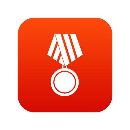Military medal icon digital red for any design isolated on white vector illustration Illustration