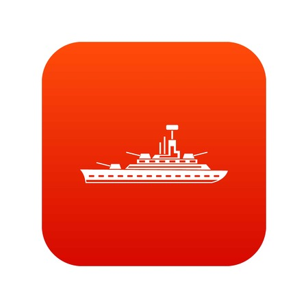 Military warship icon digital red for any design isolated on white vector illustration