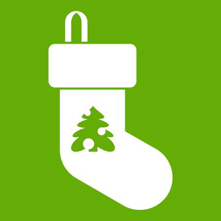 Christmas sock icon white isolated on green background. Vector illustration