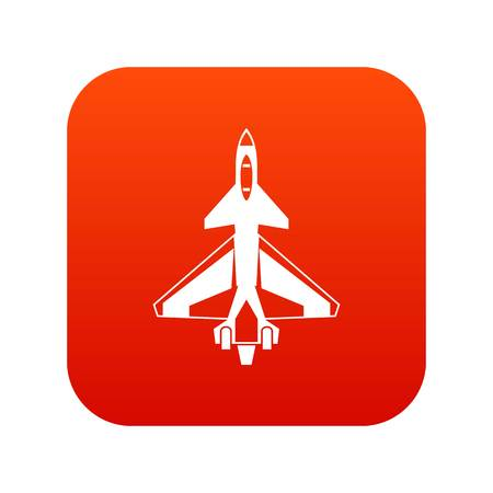 Military fighter jet icon digital red for any design isolated on white vector illustration