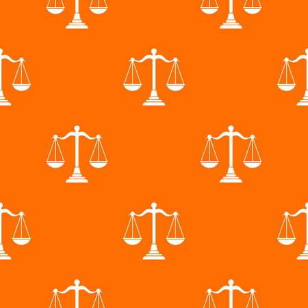 Balance scale pattern repeat seamless in orange color for any design. Vector geometric illustration