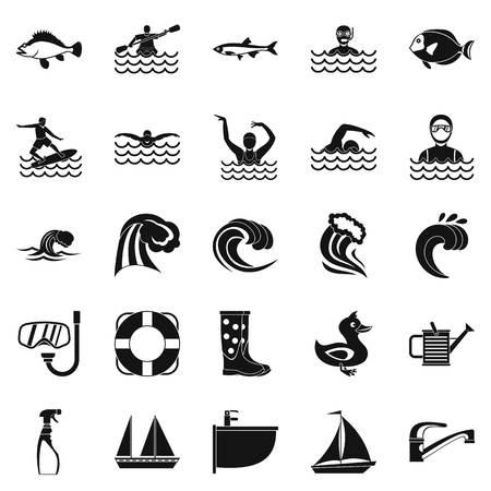 Set di icone di Aqua. Un insieme semplice di 25 icone di vettore dell'acqua per il web isolato su fondo bianco Archivio Fotografico - 90464917
