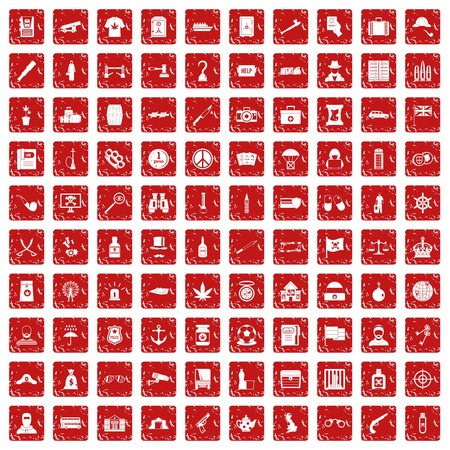 100 offence icons set in grunge style red color isolated on white background vector illustration