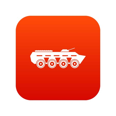 Army battle tank icon digital red for any design isolated on white vector illustration Illustration