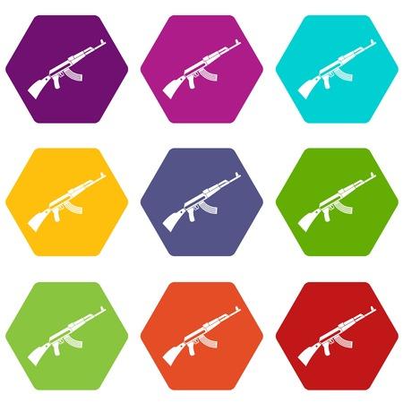 Gun machine icon set color hexahedron