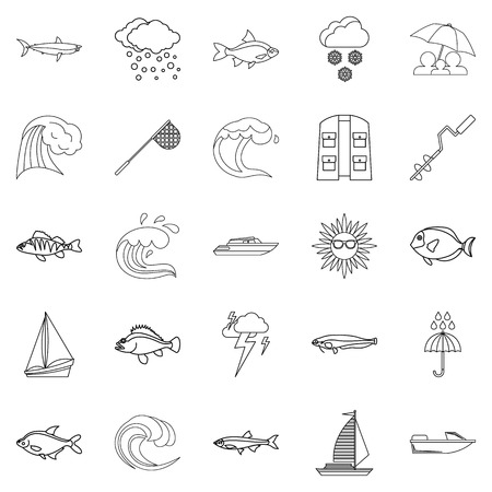 Wet icons set, outline style