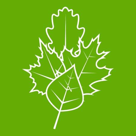 Leaves icon green Illustration