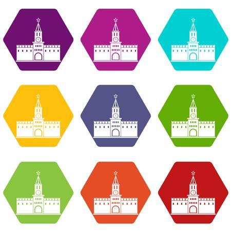 Russian kremlin icon set color hexahedron
