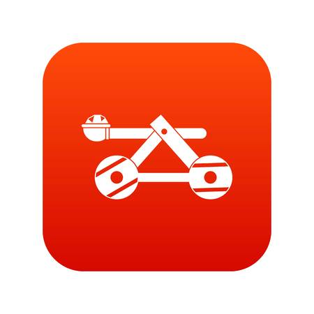 Ancient wooden catapult icon digital red