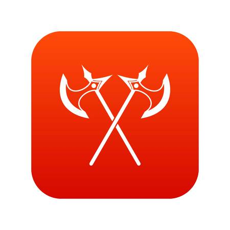 Crossed battle axes icon digital red