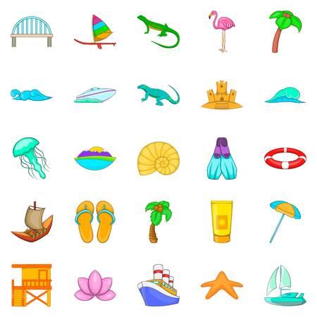 Maritime icons set, cartoon style