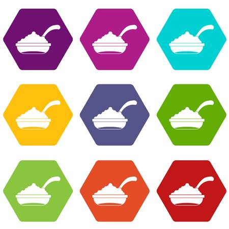 Bowl of caviar with spoon icon set color hexahedron Illustration