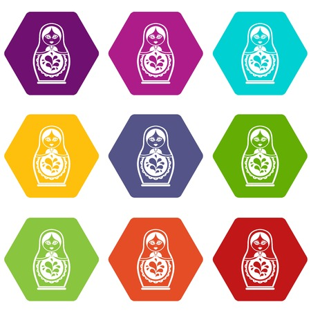 Matryoshka jeu d'icônes couleur hexaèdre Banque d'images - 90492970