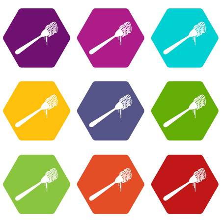 Spaghetti on a fork icon set color hexahedron