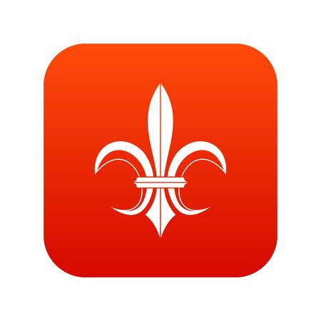 Lily heraldic emblem icon digital red
