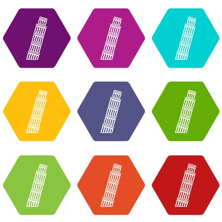Tower of pisa icon set color hexahedron