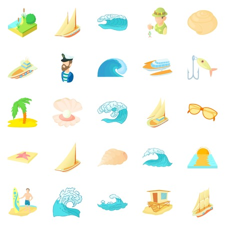 Seasearch icons set, cartoon style