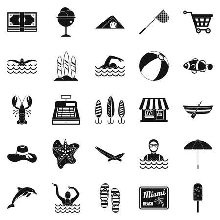 Set di icone di viaggio di acqua, stile semplice Archivio Fotografico - 90493075