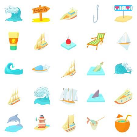 Seafaring icons set, cartoon style