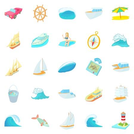 Exploration of sea icons set, cartoon style