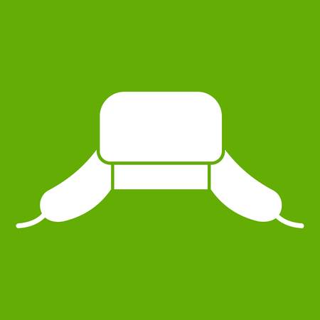 Hat with ear flaps icon green