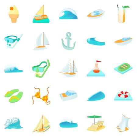 Algae icons set, cartoon style