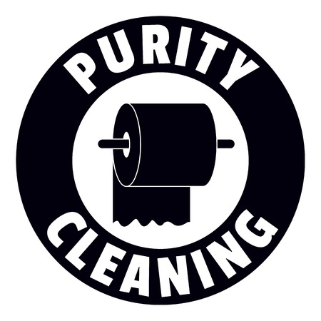 Cleaning toilet logo, simple black style Vettoriali