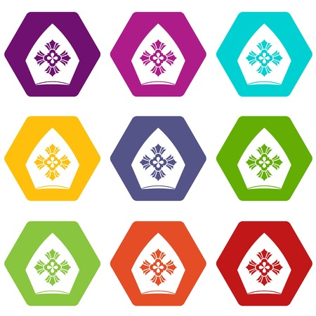 Christian hat icon set color hexahedron