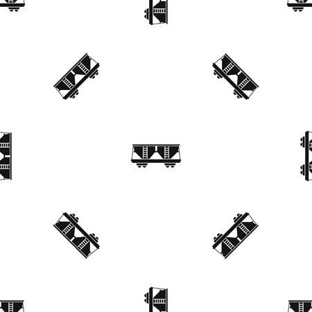 Freight railroad car pattern seamless black