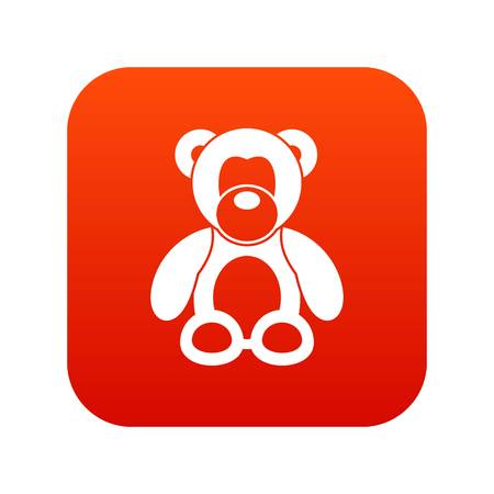 Teddy bear icon digital red