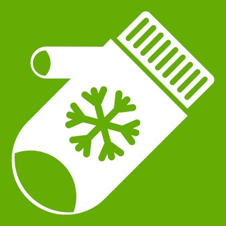 Mitten with snowflake icon green