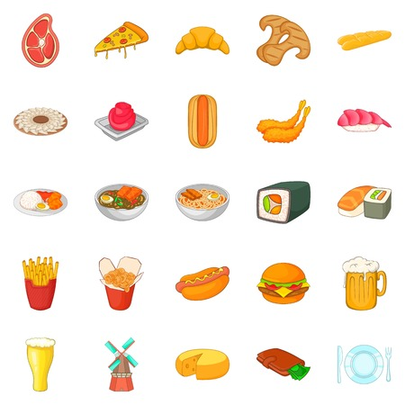 Cultural rest icons set, cartoon style