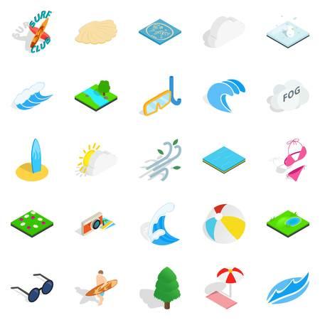 Water swimming icons set, isometric style Illustration