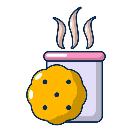 Tea and biscuit icon, cartoon style Illustration