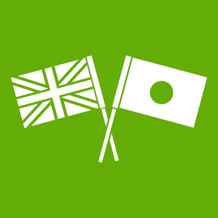 UK and Japan flags crossed icon green Stock Photo