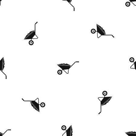Wheelbarrow pattern seamless black