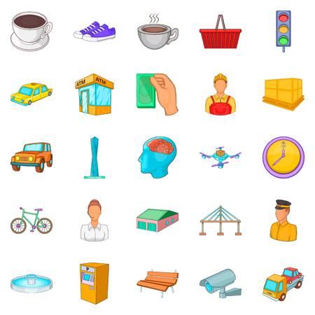 Industriegebied pictogrammen instellen. Cartoon set van 25 industriezone vector iconen voor web geïsoleerd op een witte achtergrond